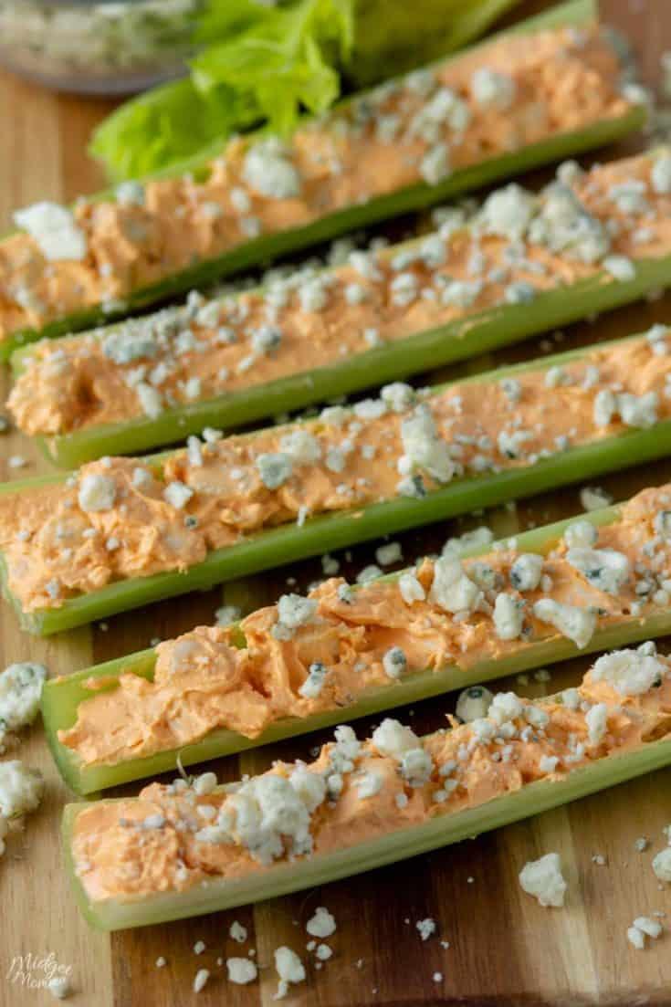 Buffalo Chicken Celery Sticks (Easy Keto Appetizer or Lunch!)