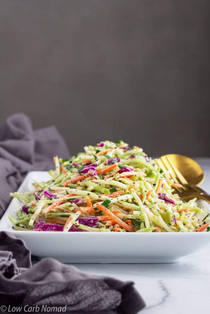 Broccoli Slaw side view in a dish