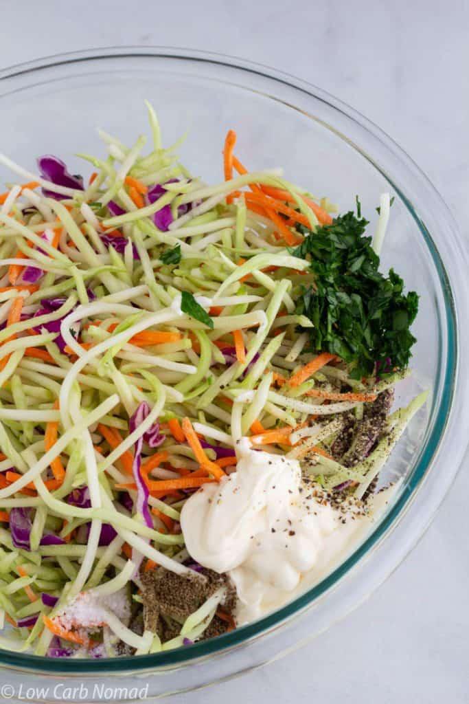 Broccoli Slaw ingredients in a bowl